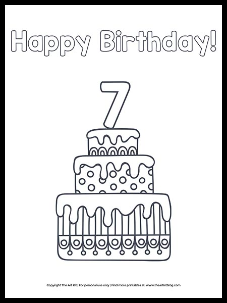Free Download Happy 7th Birthday Cake Coloring Page The Art Kit