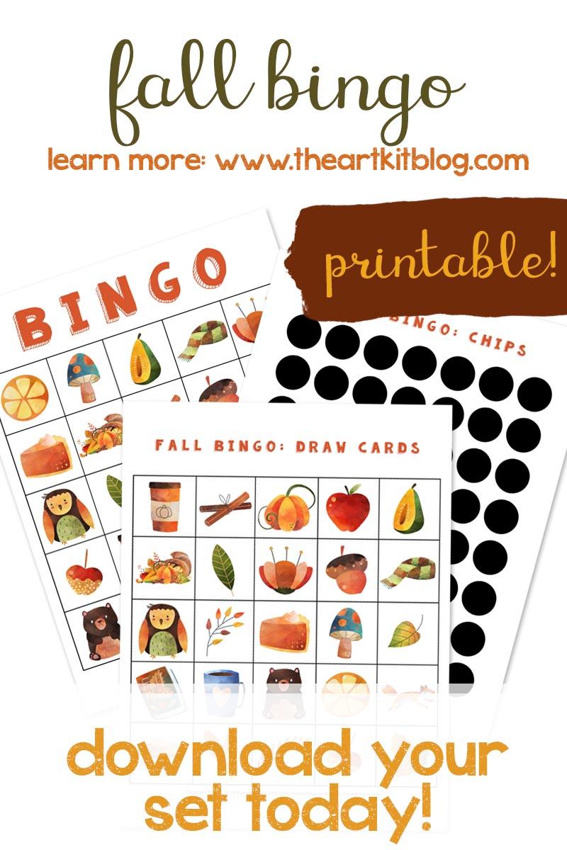 Fall bingo cards printable kids