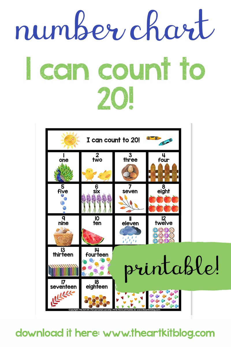 Numbers 1 To 20 Free Printable Number Chart The Art Kit
