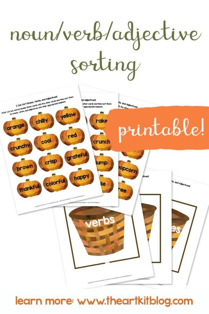 FREEBIE: Sort Nouns, Verbs, Adjectives (Fall-Themed Printable) - The Art Kit