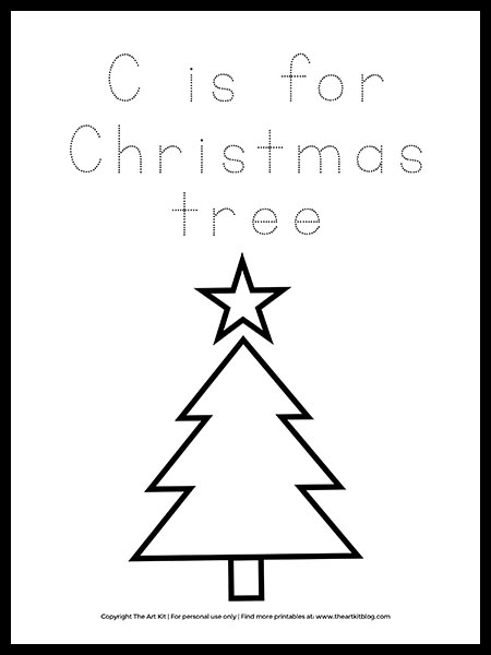 FREE! Letter C Is For Christmas Tree Coloring Page - The Art Kit