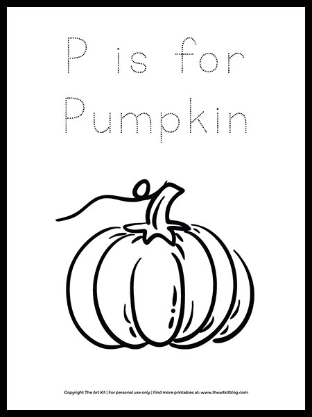 Free Letter P Is For Pumpkin Coloring Page The Art Kit