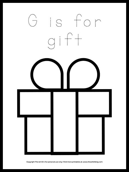 Free Letter G Is For Gift Coloring Page The Art Kit