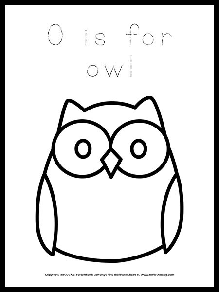 Free Letter O Is For Owl Coloring Page The Art Kit