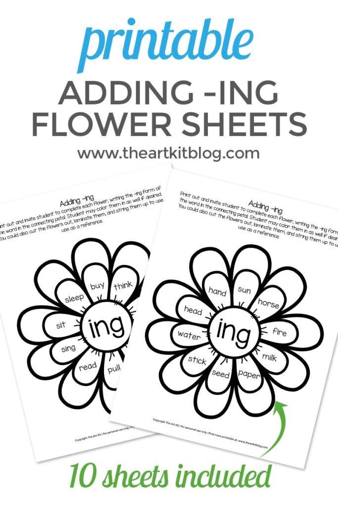 - Waldorf Flower Language Arts Coloring Pages Adding -ING Worksheets For Kids  - Printable Pack - Dolch Words - The Art Kit