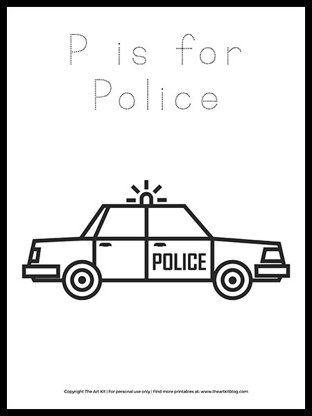 Free Letter P Is For Police Coloring Page The Art Kit