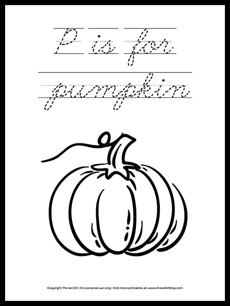 Free Letter P Is For Pumpkin In Cursive Coloring Page The Art Kit