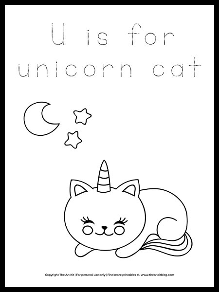 U Is For Unicorn Cat Coloring Page Free Printable The Art Kit