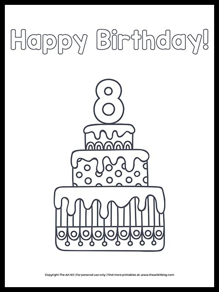 CUTE! Printable Happy 8th Birthday Cake Coloring Page - The Art Kit