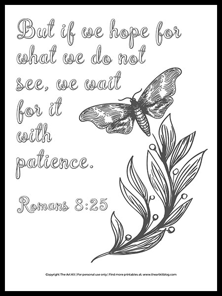 FREE Printable! Bible Verse Coloring Page: Wait With Patience - The Art Kit