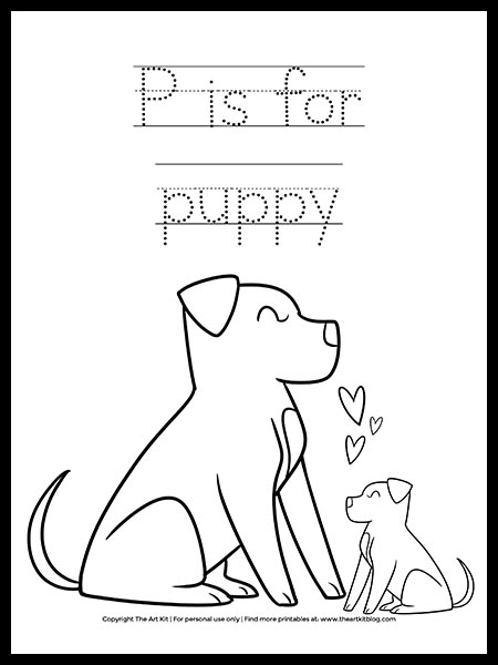 Free Cute P Is For Puppy Dog Coloring Page The Art Kit
