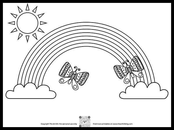 FREE Printable Butterflies Dancing Over The Rainbow Coloring Page - The Art  Kit