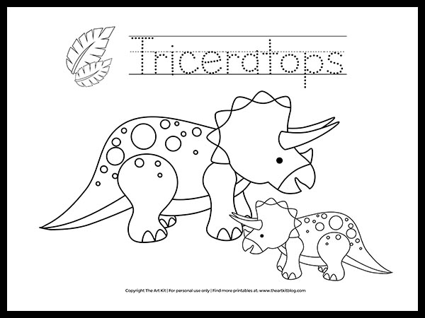 FREE! Triceratops Dinosaur Coloring Page Printable - The Art Kit