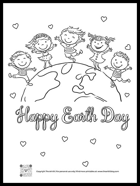 FREE! Happy Earth Day Kids Coloring Page - Printable - The Art Kit
