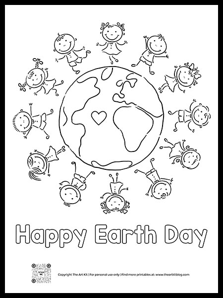 FREE! Happy Earth Day Kids Coloring Page - The Art Kit