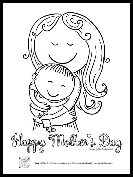 Mother's Day Coloring Page With Hidden Hearts - The Art Kit